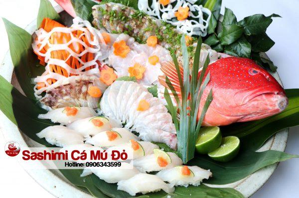 cá mú đỏ sashimi
